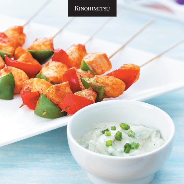 Kinohimitsu Superfood+: Heart-healthy, Greek-Inspired Chicken Skewers with Yoghurt Sauce