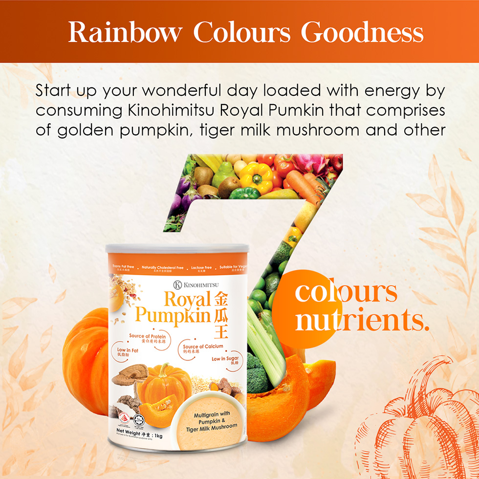 Kinohimitsu Royal Pumpkin 1kg is made from 7 colours of nutrients loaded with energy